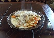 Pečené filé s přílohou z amarantu, kuskusu, zeleniny