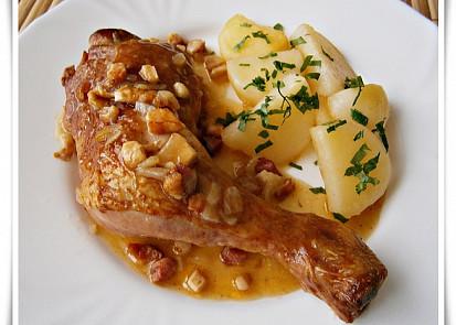 Uzená kuřecí stehna na slanině