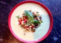 Studená avokádová polévka s paprikovou salsou