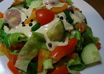 Zdravý a dobrý salát s dipem
