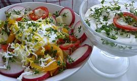 Zeleninový salát se smetanou a řeřichou.