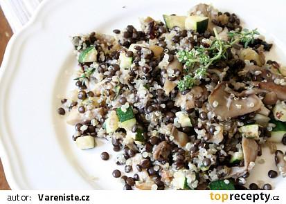Čočka beluga s quinoou a hlívou ústřičnou