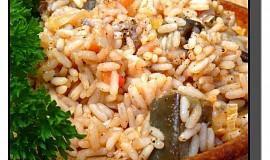 Rýže s lilkem a rajčaty
