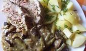 Vepřová roládka na fazolkách a houbách v PH