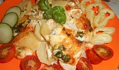 Zapečené brambory se smetanou a kuřecím masem