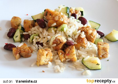 Na pánvi opečený tempeh se zeleninou a rýží