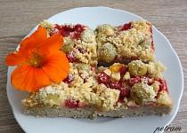 Ovocný koláč s drobenkou bez lepku, mléka a vajec (bez komerční bezlepkové směsi)