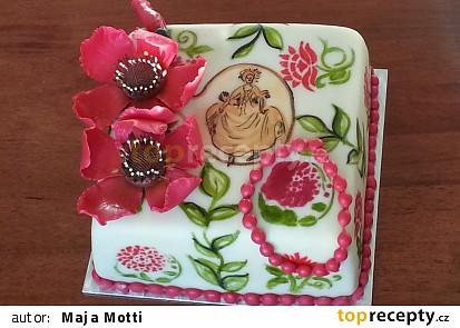 Malovaný dort s modelovaným květem
