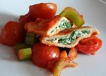 Taštičky plněné špenátem a ricottou se zleninovou směsí