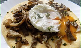 Krémová polenta s restovanou hlívou a ztraceným vejcem
