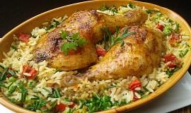 Kuřecí stehna pečená s rýží z jednoho pekáčku
