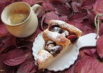 Švestkový koláč s tvarohovou náplní-šnek ( plundrové těsto jednoduché)