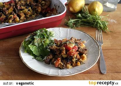 Tofu s rajčaty, bramborami a oregánem