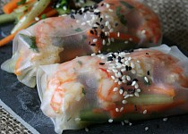 Závitky z rýžového papíru s krevetami
