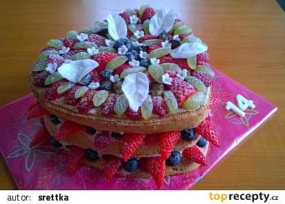 Bezlepkový nahý ovocný dort