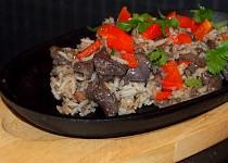 Játrové rizoto s morkem a pečenou paprikou
