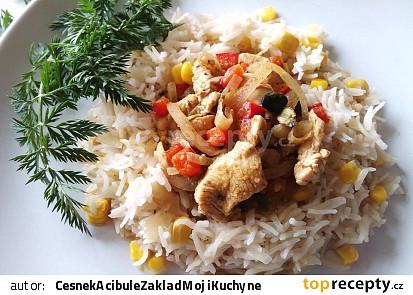 Kuřecí prsa s červenou paprikou a dýňovými semínky, s basmati-kukuřičnou rýží