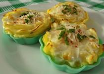 Zapečená bramborová kaše s vejcem v tartaletkách