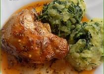 Country kuře s česnekem a špenátovými brambory