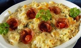 Zapečená kaše se zelím a sýrem