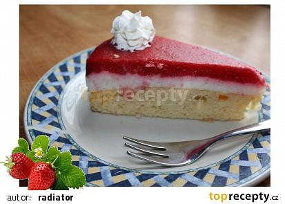 Piškotový dort s tvarohem a jahodovým želé