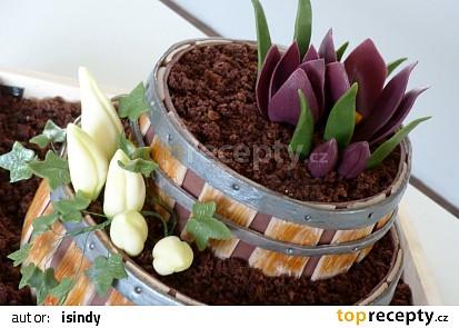 Dort - květinové sudy s krokusy a břečťanem