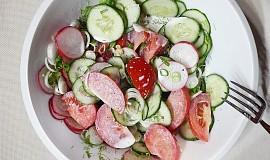 Ředkvičkový salát s okurkou, rajčaty a smetanou