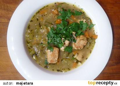 Zeleninová polévka s kuřecím masem a cuketou