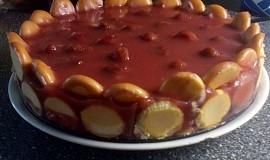Jahodo-tvarohový nepečený dort