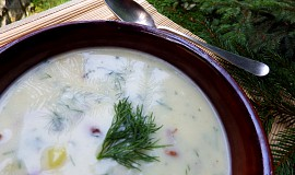 Koprová polévka s bramborem a houbami