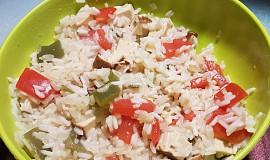 Tofu rizoto s červenou a zelenou paprikou (v jedné pánvičce)