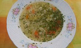 Zeleninová polévka s vajíčkem a nudlemi