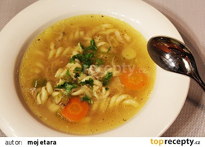 Domácí kuřecí polévka s těstovinami