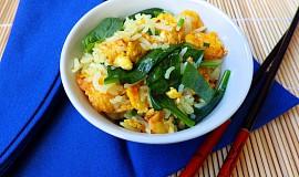 Rýže s vejci a špenátem