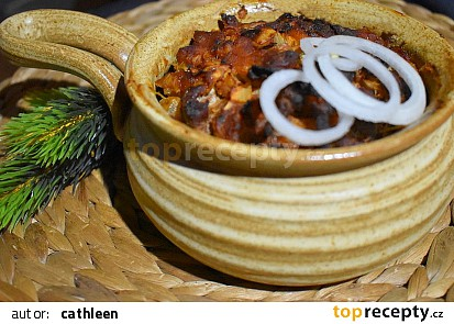 Vepřové nudličky s hořčicí a cibulí