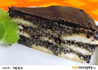 Nepečený makový dort