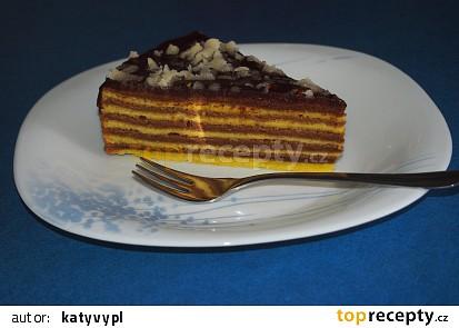 Pruhovaný dort postupně pečený