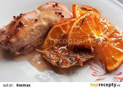 Kuře na pomerančích s brusinkami