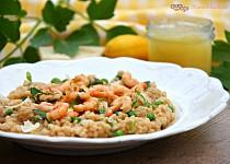 Citronové rizoto s hráškem a krevetami