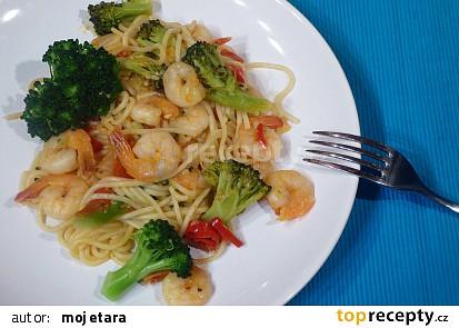 Krevety s brokolicí a špagetami