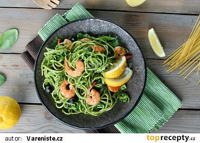 Špagety s krevetami a špenátem