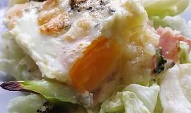 Zapečená bramborová kaše s vejcem a nivou