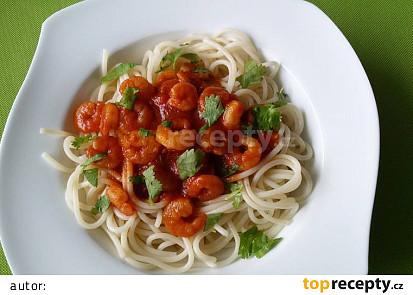 Krevety v marinádě se špagetami