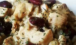 Kuřecí prsa na zázvoru, s fazolemi a rýží