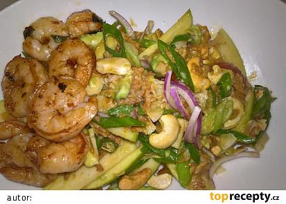 Salát s krevetami, jablkem a avokádem
