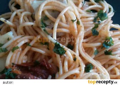 Aljašská treska na víně se špagetami