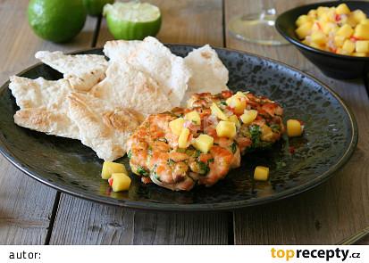Lososové karbanátky s mangovou salsou