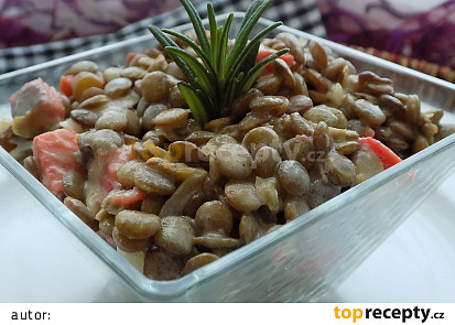 Čočkový salát se solenou treskou