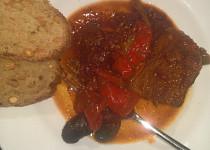 Dušené vepřové s paprikami a fazolemi - párolt sertéspaprika és bab