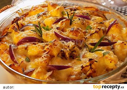 Květák a brambory zapečené s Hermelínem